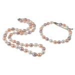 Natyrore kulturuar Pearl ujërave të ëmbla bizhuteri Sets, Pearl kulturuar ujërave të ëmbla, Oriz, natyror, ngjyra të përziera, 7mm, :16Inç,  I vendosur