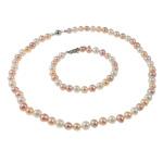 Natyrore kulturuar Pearl ujërave të ëmbla bizhuteri Sets, Pearl kulturuar ujërave të ëmbla, Round, natyror, ngjyra të përziera, 7mm, :16.5Inç,  7Inç,  I vendosur