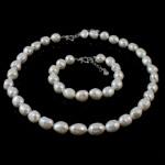 Natyrore kulturuar Pearl ujërave të ëmbla bizhuteri Sets, Pearl kulturuar ujërave të ëmbla, Oriz, natyror, e bardhë, 11-12mm, :16.5Inç,  7Inç,  I vendosur