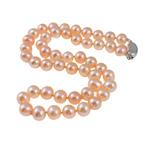 925 Sterling Silver gjerdan perlash, Pearl kulturuar ujërave të ëmbla, Round, natyror, rozë, 8-9mm, : 17.5Inç,  17.5Inç,