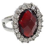 Zink Alloy Ring Finger, Alloy zink, Oval, ngjyrë platin praruar, me diamant i rremë, asnjë, , nikel çojë \x26amp; kadmium falas, 20.50x25.50x20mm, : 17mm, :6.5,  PC