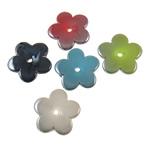 Beads plumb Zi akrilik, Lule, plumbit ngjyrë të zezë praruar, ngjyra të forta, ngjyra të përziera, 25x3.5mm, : 3mm, 5KG/Shumë,  Shumë