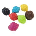 Akrilik Beads i mbuluar me brymë, Lule, asnjë, ngjyra të përziera, 19x17mm, : 2.5mm, 5KG/Shumë,  Shumë