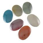 Beads plumb Zi akrilik, Oval Flat, plumbit ngjyrë të zezë praruar, ngjyra të forta, ngjyra të përziera, 24x35x6.50mm, : 1.5mm, 5KG/Shumë,  Shumë