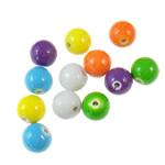 Beads pikturuar akrilik, Round, pikturë, asnjë, ngjyra të përziera, 10mm, : 2mm, 5KG/Shumë,  Shumë