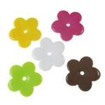 Beads Solid Color akrilik, Lule, asnjë, ngjyra të forta, ngjyra të përziera, 26x3.5mm, : 3mm, 5KG/Shumë,  Shumë