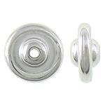 Veshura bakri Beads plastike, plastike bakrit të veshura, Round Flat, ngjyrë platin praruar, asnjë, asnjë, , nikel çojë \x26amp; kadmium falas, 12x12x6mm, : 2mm, 1666PC/KG,  KG