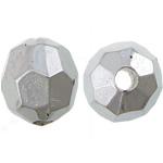 Veshura bakri Beads plastike, plastike bakrit të veshura, Oval, ngjyrë platin praruar, asnjë, asnjë, , nikel çojë \x26amp; kadmium falas, 8x7.50mm, : 2mm, 5000PC/KG,  KG