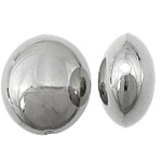Veshura bakri Beads plastike, plastike bakrit të veshura, Oval Flat, ngjyrë platin praruar, asnjë, asnjë, , nikel çojë \x26amp; kadmium falas, 23x27x14mm, : 3mm, 204PC/KG,  KG