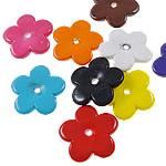 Beads pikturuar akrilik, Lule, pikturë, asnjë, ngjyra të përziera, 25x25x4mm, : 2.5mm, 5KG/Shumë,  Shumë