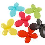 Akrilik Jelly Style Beads, Flutur, asnjë, Stili pelte, ngjyra të përziera, 46x35x6.50mm, : 3mm, 5KG/Shumë,  Shumë