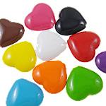 Beads Solid Color akrilik, Zemër, asnjë, ngjyra të forta, ngjyra të përziera, 24x22x8.50mm, : 2.5mm, 5KG/Shumë,  Shumë