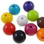 Beads Solid Color akrilik, Round, asnjë, ngjyra të forta, ngjyra të përziera, 12mm, : 2mm, 5KG/Shumë,  Shumë
