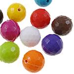 Beads Solid Color akrilik, Round, asnjë, ngjyra të forta, ngjyra të përziera, 16mm, : 2mm, 5KG/Shumë,  Shumë