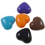 Beads Solid Color akrilik, Zemër, asnjë, ngjyra të forta, ngjyra të përziera, 21.50x19x12mm, : 2.5mm, 5KG/Shumë,  Shumë