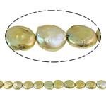 Monedhë Beads ujërave të ëmbla kulturuar Pearl, Pearl kulturuar ujërave të ëmbla, Buton, i lyer, ar, 13-14mm, : 1mm, :15Inç,  15Inç,