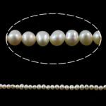 Barok Beads kulturuar Pearl ujërave të ëmbla, Pearl kulturuar ujërave të ëmbla, Nuggets, natyror, e bardhë, 3-4mm, : 1mm, :15Inç,  15Inç,