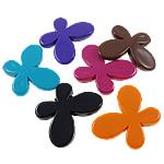 Beads Solid Color akrilik, Flutur, asnjë, ngjyra të forta, ngjyra të përziera, 46x35x7mm, : 3mm, 5KG/Shumë,  Shumë