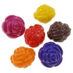 Beads Solid Color akrilik, Lule, asnjë, ngjyra të forta, ngjyra të përziera, 14x14x13mm, : 2mm, 5KG/Shumë,  Shumë