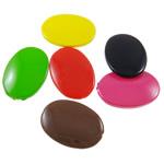 Beads Solid Color akrilik, Oval, asnjë, ngjyra të forta, ngjyra të përziera, 24x35x7mm, : 1.5mm, 5KG/Shumë,  Shumë