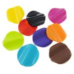 Beads Solid Color akrilik, Kthesë, asnjë, ngjyra të forta, ngjyra të përziera, 23x25x5mm, : 2mm, 5KG/Shumë,  Shumë
