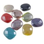 Beads plumb Zi akrilik, Drejtkëndësh, plumbit ngjyrë të zezë praruar, faceted & ngjyra të forta, ngjyra të përziera, 20x24x9mm, : 2mm, 5KG/Shumë,  Shumë
