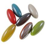 Beads plumb Zi akrilik, Oval, plumbit ngjyrë të zezë praruar, ngjyra të forta, ngjyra të përziera, 12x30mm, : 2.5mm, 5KG/Shumë,  Shumë