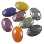 Beads plumb Zi akrilik, Oval, plumbit ngjyrë të zezë praruar, faceted & ngjyra të forta, ngjyra të përziera, 13x19x16.50mm, : 1.5mm, 5KG/Shumë,  Shumë
