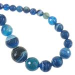 Beads Blue Natyrore agat, Blue agat, Round, asnjë, makinë faceted & shirit, 6-14, : 1mm, :18Inç, 5Fillesat/Shumë,  Shumë