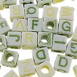 Beads akrilik alfabet, Kub, asnjë, ngjyra të forta, ngjyra të përziera, 7mm, : 3.5mm, 1660PC/Qese,  Qese