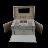 Bizhuteri lëkure Set Box, PU, Drejtkëndësh, asnjë, textured, e bardhë, 240x160x165mm,  PC