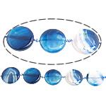 Beads Blue Natyrore agat, Blue agat, Round Flat, asnjë, 35x35x7mm, : 2mm, :15Inç, 5Fillesat/Shumë,  Shumë