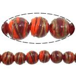 Gold petë Beads Lampwork, Round, asnjë, petë ari, i kuq, 12x11mm, : 2mm, : 10Inç, 5Fillesat/Shumë,  Shumë