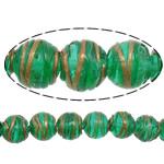 Gold petë Beads Lampwork, Round, asnjë, petë ari, e gjelbër, 12x11mm, : 2mm, :10Inç, 5Fillesat/Shumë,  Shumë