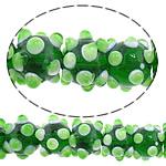 Beads Lampwork me gunga, Round, asnjë, asnjë, e gjelbër, 12x10mm, : 2mm, : 10.5Inç, 5Fillesat/Shumë,  Shumë