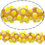 Beads Lampwork me gunga, Shape Tjera, asnjë, asnjë, i verdhë, 12x10mm, : 2mm, : 10.5Inç, 5Fillesat/Shumë,  Shumë