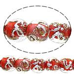 Sand Gold \x26amp; Silver Lampwork petë, Round, asnjë, rërë ari dhe argjendi me letër varaku, i kuq, 12-13mm, : 3mm, : 11Inç, 10Fillesat/Shumë,  Shumë