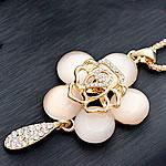 Zinxhiri gjerdan triko, Alloy zink, Lule, ngjyrë ari praruar, me diamant i rremë, asnjë, , nikel çojë \x26amp; kadmium falas, 40x65mm, :27.5Inç, 10Fillesat/Shumë,  Shumë