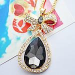 Zinxhiri gjerdan triko, Alloy zink, Lot, ngjyrë ari praruar, me diamant i rremë, gri, , nikel çojë \x26amp; kadmium falas, 30x58mm, :27.5Inç, 10Fillesat/Shumë,  Shumë