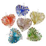 Pendants Lampwork Fashion, Zemër, punuar me dorë, petë ari, ngjyra të përziera, 44x43x12.5mm, : 7x7.5mm, 12PC/Kuti,  Kuti