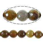 Agat Beads, Agat Kafe, Round, asnjë, faceted, 18mm, : 2.2mm, :16Inç, 5Fillesat/Shumë,  Shumë