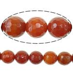Beads Kuq Natyrore agat, Red agat, Round, asnjë, faceted, 18mm, : 2mm, :16Inç, 5Fillesat/Shumë,  Shumë