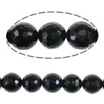 Beads Natyrore Zi agat, Black agat, Round, asnjë, faceted, 16mm, : 2mm, :16Inç, 5Fillesat/Shumë,  Shumë