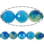Beads Blue Natyrore agat, Blue agat, Round, asnjë, faceted, 16mm, : 2.2mm, :16Inç, 5Fillesat/Shumë,  Shumë