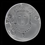 Crystal Pendants, Kuarc qartë, Oval Flat, Gdhendur, të vetme të njëanshme, 43x48x10mm, : 1.5mm, 2PC/Shumë,  Shumë