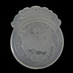 Grey varëse agat, Grey agat, Oval Flat, Gdhendur, të vetme të njëanshme, 39x46x5mm, : 1.5mm, 5PC/Shumë,  Shumë