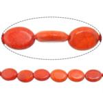 Bruz Beads, Bruz Natyrore, Oval Flat, i lyer, asnjë, kuq pak portokalli, 20x15x5mm, : 2mm, :15.5Inç, 10Fillesat/Shumë,  Shumë