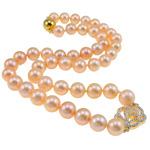 925 Sterling Silver gjerdan perlash, Pearl kulturuar ujërave të ëmbla, with Kub kub, Round, natyror, rozë, AAA, 9-10mm, : 1mm, : 18Inç,  18Inç,