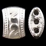 Zink Alloy Spacer Bar, Alloy zink, Nuggets, Ngjyra argjend praruar, 3-fije floku, asnjë, , nikel çojë \x26amp; kadmium falas, 11x8x5.50mm, : 1.5mm, 710PC/KG,  KG
