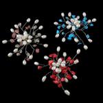 Pearl ujërave të ëmbla karficë, Pearl kulturuar ujërave të ëmbla, with Gur i çmuar, Lule, asnjë, e bardhë, 7-8mm,  PC
